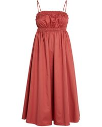 Claudie Pierlot Cotton Ruched Midi Dress - Red