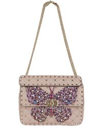 Valentino - Medium Leather Butterfly Spike Shoulder Bag - Lyst