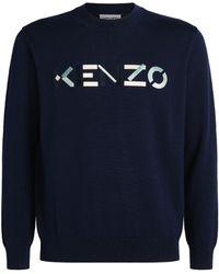 KENZO Wool Logo Sweater - Blue