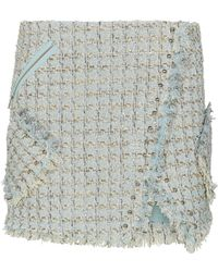 Faith Connexion Tweed Mini Skirt - Blue