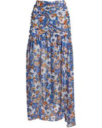 MISA Los Angles Floral Saskia Midi Skirt - Blue