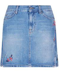 7 For All Mankind - Firework Embroidered Denim Skirt - Lyst