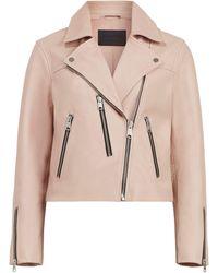 AllSaints Leather Kassia Biker Jacket - Pink