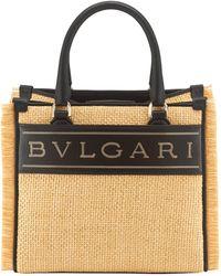 BVLGARI Raffia Bvglari Logo Tote Bag - Black