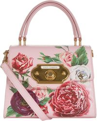 Dolce & Gabbana - Small Leather Peony Welcome Bag - Lyst