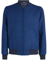 Richard James Tweed Bomber Jacket - Blue