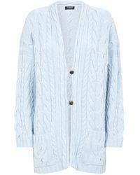 Harrods Cable Knit Cashmere Cardigan - Blue