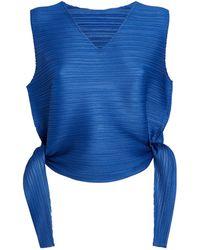 Pleats Please Issey Miyake V-neck Sleeveless Top - Blue