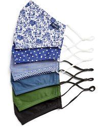 Harrods Cotton Face Covering (set Of 6) - Blue