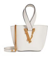 Versace Leather Virtus Top-handle Bag - White