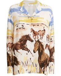 Claudie Pierlot Silk Horse Print Shirt - Blue