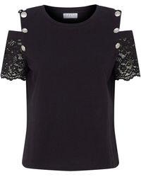 Claudie Pierlot Lace Sleeve Cold-shoulder T-shirt - Black