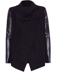 AllSaints Wool-leather Lucia Cardigan - Black