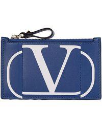 Valentino Logo Card Holder - Blue