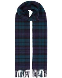 Harrods Fringed Check Wool Scarf - Blue