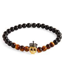 Tateossian King Skull Tiger Eye Bracelet - Brown