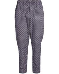 Hanro Pyjamahose mit Fliesenprint - Grau