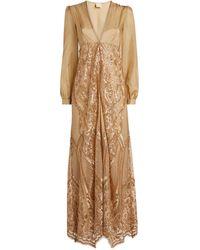 Myla Long Embellished Robe - Metallic