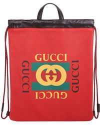 Gucci - Leather Zaino Drawstring Backpack - Lyst