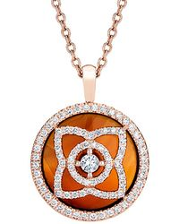 De Beers - Rose Gold And Carnelian Enchanted Lotus Pendant - Lyst