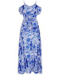 Lazul | Ayda Silk Cold-shoulder Maxi Dress | Lyst