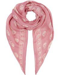Alexander McQueen Skull Silk Scarf - Pink