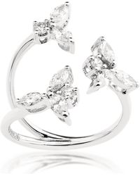 YEPREM White Gold And Diamond Snowflakes Open Ring