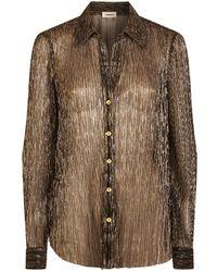 bbc6097737b10 L Agence Nina Snakeskin-embossed Silk Blouse in White - Lyst