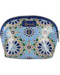 Harrods Mosaic Cosmetic Bag - Blue