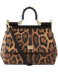 Dolce & Gabbana - Medium Leather Leopard Spot Sicily Bag - Lyst