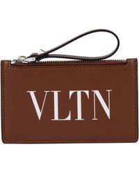 Valentino Logo Zipped Card Holder - Brown