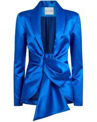 Halpern Draped Satin Blazer - Blue