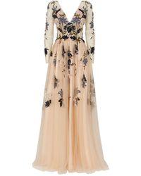Jovani Floral Embellished Long-sleeved Gown - Natural