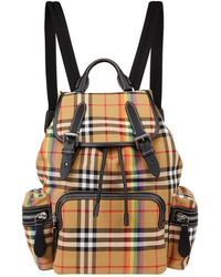Burberry - Medium Rainbow Vintage Check Buckled Rucksack - Lyst