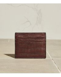Brunello Cucinelli Croc-embossed Leather Card Holder - Brown