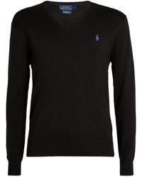 Ralph Lauren Polo Pony V-neck Sweater - Black