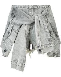 Alexander Wang - Grey Denim Jacket Shorts - Lyst