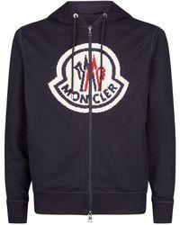 Moncler Zip-up Logo Hoodie - Blue