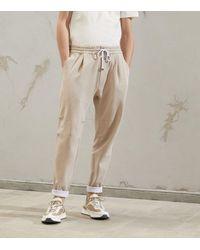 Brunello Cucinelli Cotton-stretch Sweatpants - Natural