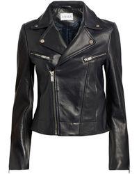 Claudie Pierlot Leather Biker Jacket - Blue