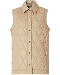 Burberry Diamond-quilted Gilet - Natural
