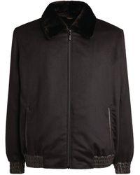 Zilli Mink-trim Cashmere Bomber Jacket - Black