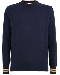 Oliver Spencer Wool Striped-cuff Sweater - Blue
