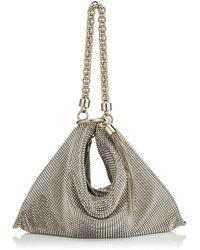 Jimmy Choo Callie Silver Chain Mail Mesh Clutch Bag With Chain Strap - Metallic
