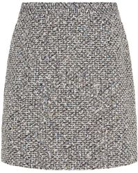 Alessandra Rich - Sequinned Tweed Mini Skirt - Lyst