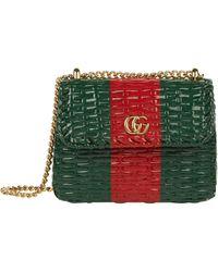 Gucci Mini Web Umhängetasche aus Wicker - Mehrfarbig