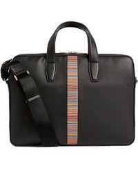 Paul Smith Leather Signature Stripe Briefcase - Black