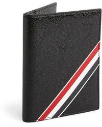 Thom Browne Diagonal Stripe Passport Holder - Black