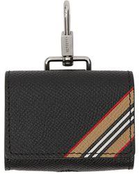 Burberry Leather Icon Stripe Airpods Pro Case - Black