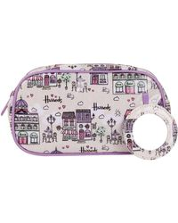 Harrods Caf Culture Cosmetic Bag - Purple